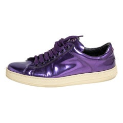 Tom Ford Metallic Purple Leather Low Top Sneakers Size 38