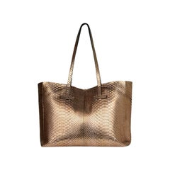 Tom Ford Metallic Rose Gold Python Snakeskin Small T Tote Bag