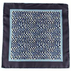 TOM FORD Navy & Blue Geometric Spots Print Silk Pocket Square