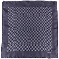 TOM FORD Navy Dots Print Silk Pocket Square