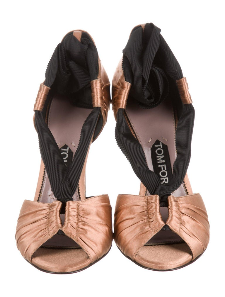Brown Tom Ford NEW Cognac Satin Black Tie Evening Sandals Heels in Box For Sale