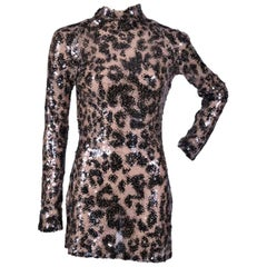 TOM FORD NUDE COLORED LEOPARD PRINTED HAND EMBROIDERED SEQUINED LACE DRESS sz 4
