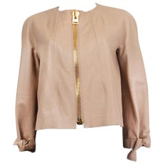TOM FORD nude pink LEATHER CROPPED Jacket S