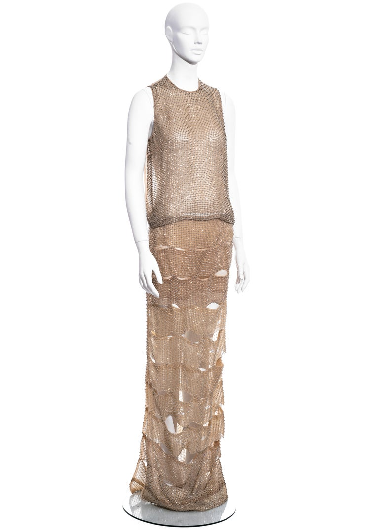 Brown Tom Ford nude silk organza evening dress in a lattice of glass beads, ss 2013