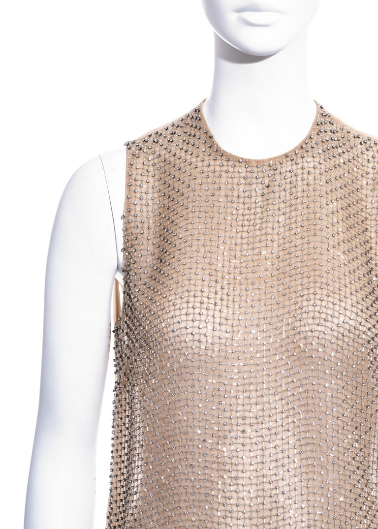 Tom Ford nude silk organza evening dress in a lattice of glass beads, ss 2013 In Excellent Condition In London, GB