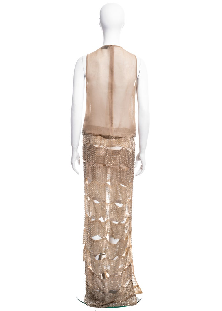 Tom Ford nude silk organza evening dress in a lattice of glass beads, ss 2013 2
