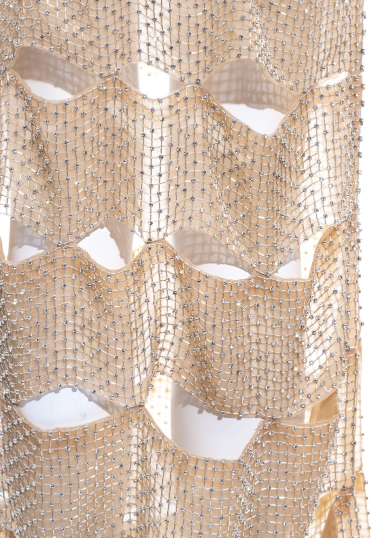 Tom Ford nude silk organza evening dress in a lattice of glass beads, ss 2013 3