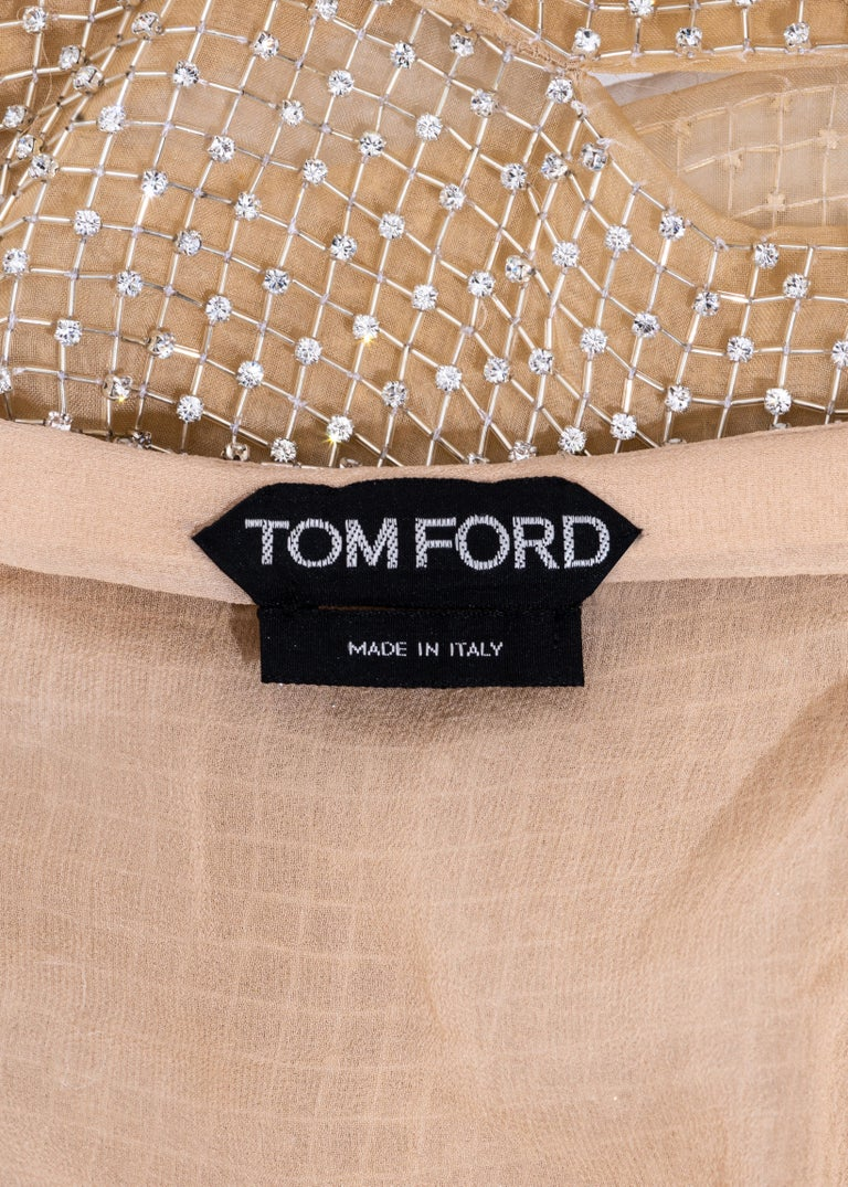 Tom Ford nude silk organza evening dress in a lattice of glass beads, ss 2013 4