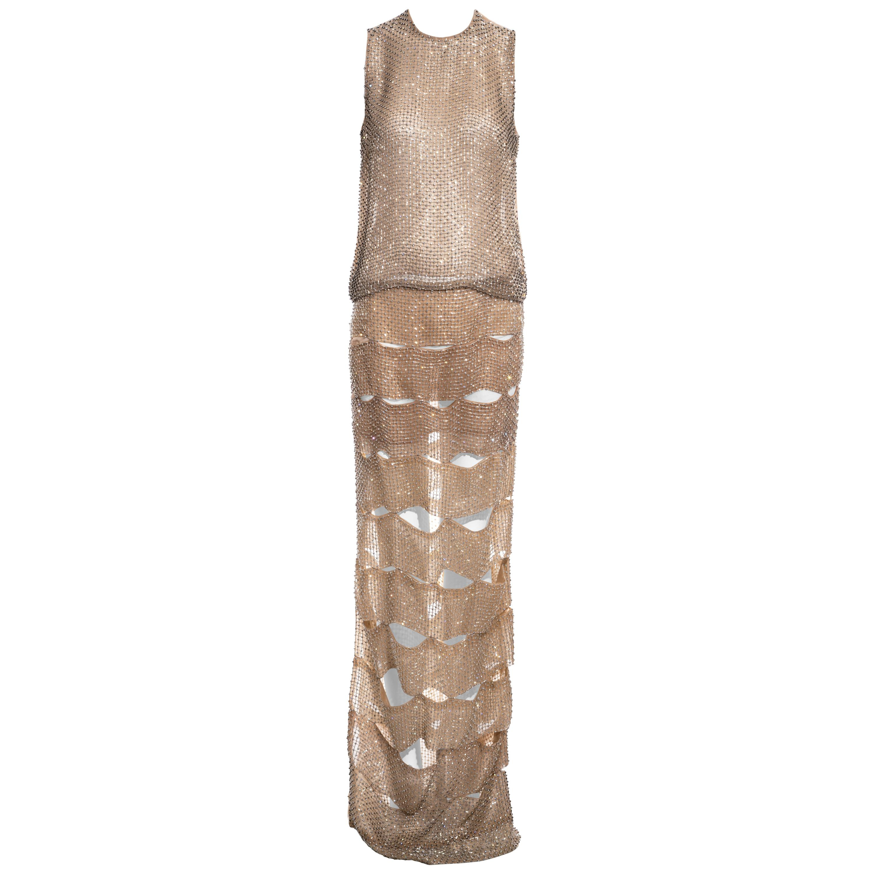 Tom Ford nude silk organza evening dress in a lattice of glass beads, ss 2013