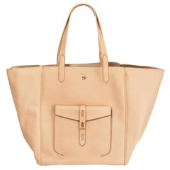 TOM FORD Oat nude pink HOLLYWOOD LEATHER T TWIST TOTE Bag