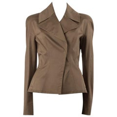 TOM FORD olive green cotton WIDE COLLAR BLAZER Jacket 44 L