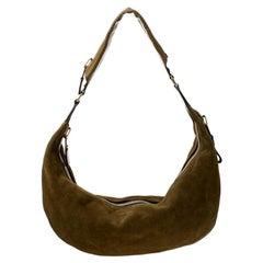 Tom Ford Olive Green Suede and Leather Shoulder Bag