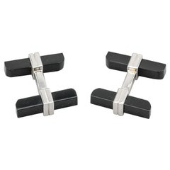 Tom Ford Onyx 18 Karat White Gold Bar Cufflinks