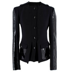 Tom Ford Patent Leather-Paneled Stretch-Wool Jacket 38