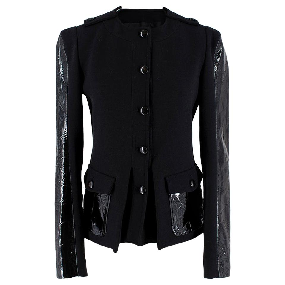 Tom Ford Patent Leather-Paneled Stretch-Wool Jacket - Size US 2