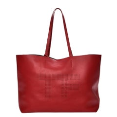 Tom Ford Perforated Logo Red Calfskin Tote Bag
