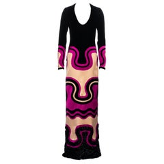 Tom Ford pink and black silk multi panelled evening maxi dress, fw 2015