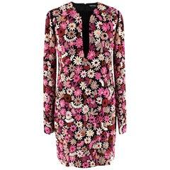 Tom Ford Pink Embroidered Flower Embellished Dress 40