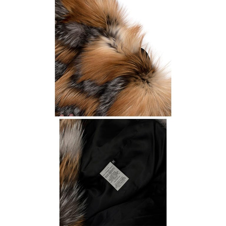 Tom Ford Red & Grey Fox Fur Leather Trimmed Jacket 36 For Sale 5