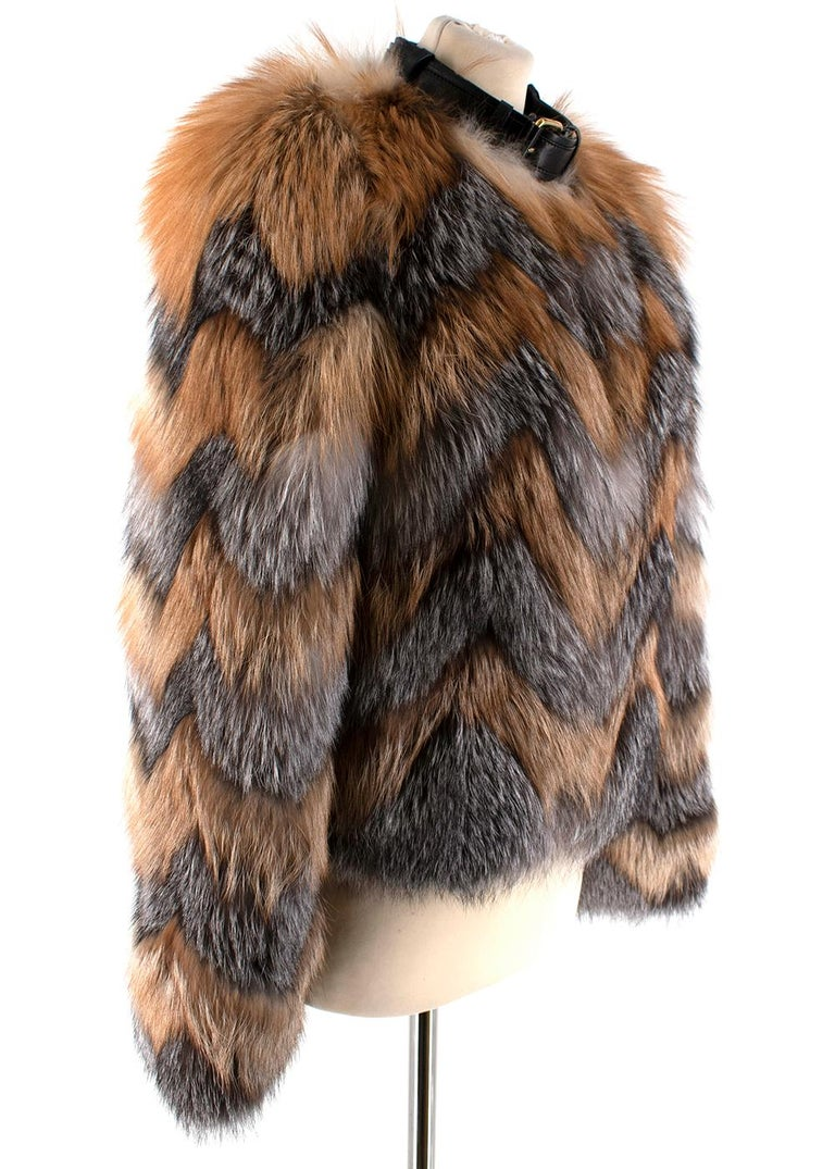 Tom Ford Red & Grey Fox Fur Leather Trimmed Jacket  - Featuring a mixture of soft red fox fur in autumnal shades of orange and cream/grey tones - Lambskin leather neckline with gold hardware clasps - Long sleeves - Very warm perfect for the winter -