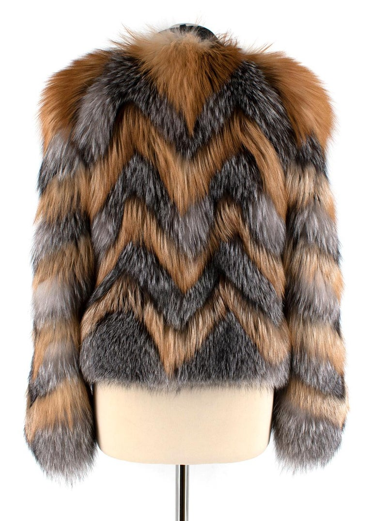 Gray Tom Ford Red & Grey Fox Fur Leather Trimmed Jacket 36 For Sale