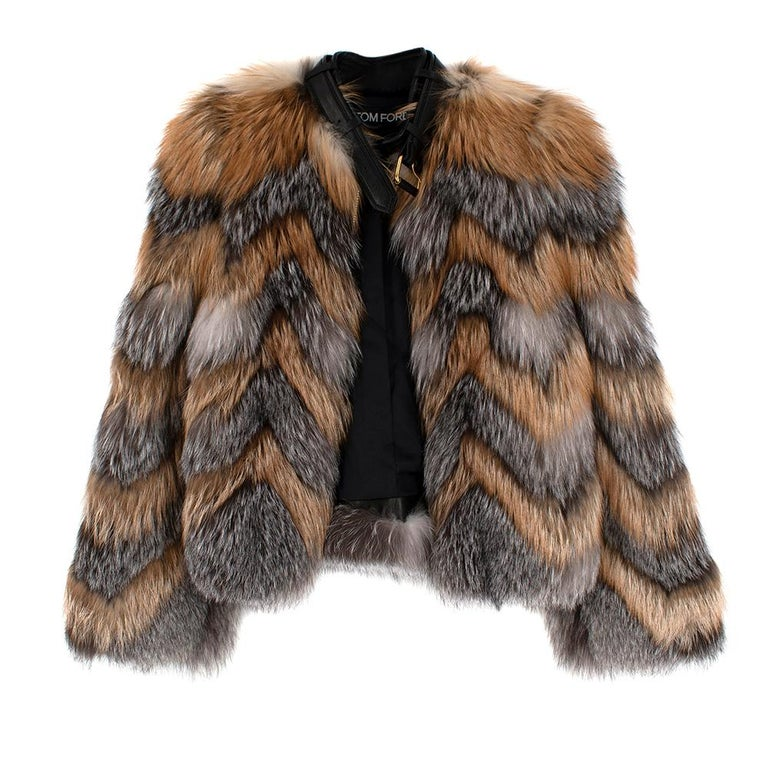 Tom Ford Red & Grey Fox Fur Leather Trimmed Jacket 36 In New Condition For Sale In London, GB