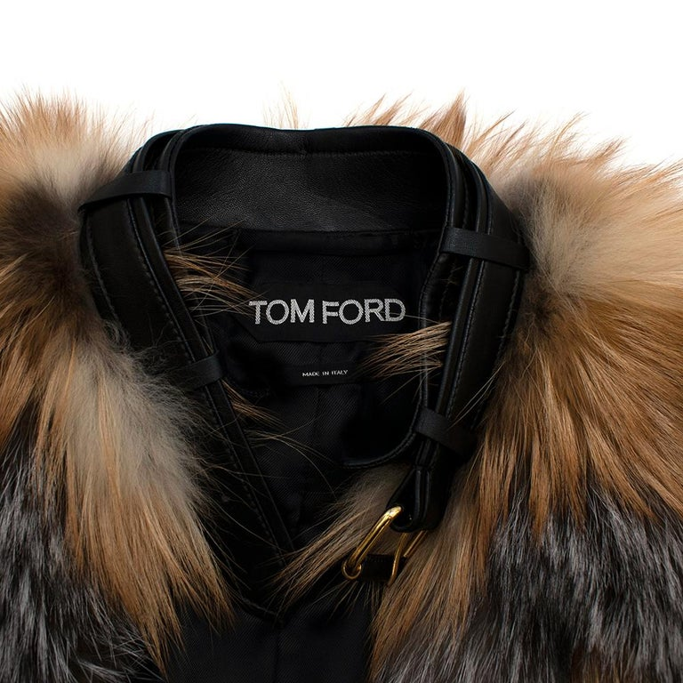 Women's or Men's Tom Ford Red & Grey Fox Fur Leather Trimmed Jacket 36 For Sale