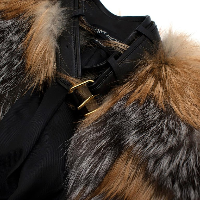 Tom Ford Red & Grey Fox Fur Leather Trimmed Jacket 36 For Sale 1