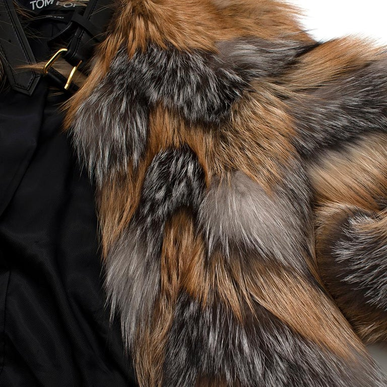 Tom Ford Red & Grey Fox Fur Leather Trimmed Jacket 36 For Sale 3