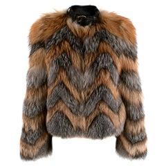 Tom Ford Red & Grey Fox Fur Leather Trimmed Jacket 36