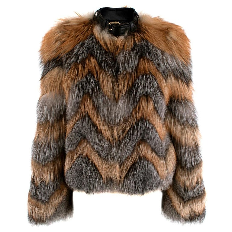 Tom Ford Red & Grey Fox Fur Leather Trimmed Jacket 36 For Sale