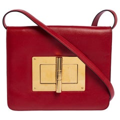 Tom Ford Red Leather Large Natalia Shoulder Bag