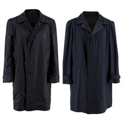 Tom Ford Reversible Navy Blue Wool Trench Coat - Size XL 56 IT
