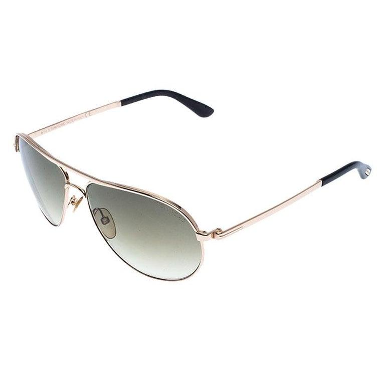 Tom Ford Rose Gold/Green Gradient Marko TF144 Aviator Sunglasses In Good Condition For Sale In Dubai, Al Qouz 2