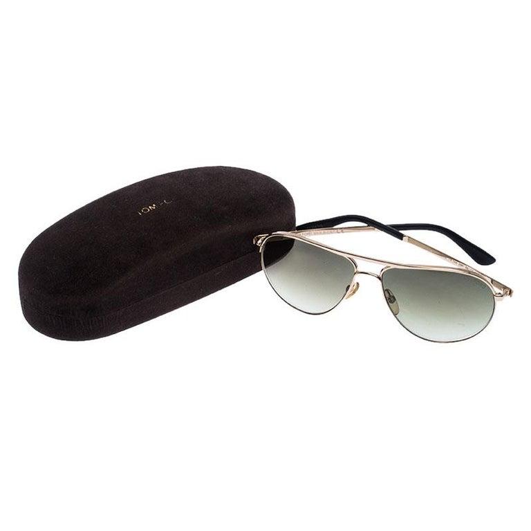 Women's Tom Ford Rose Gold/Green Gradient Marko TF144 Aviator Sunglasses For Sale