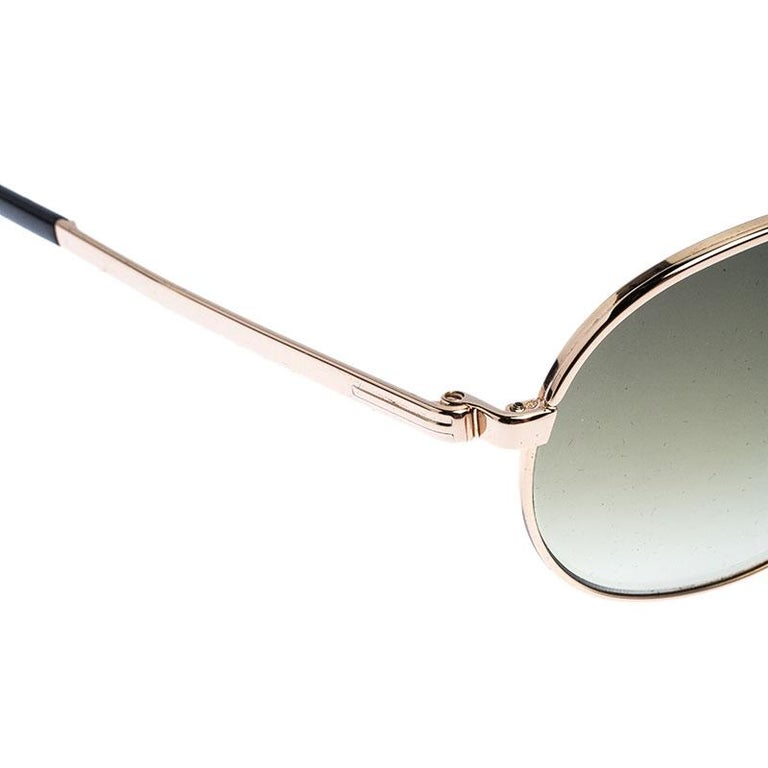 Tom Ford Rose Gold/Green Gradient Marko TF144 Aviator Sunglasses For Sale 1