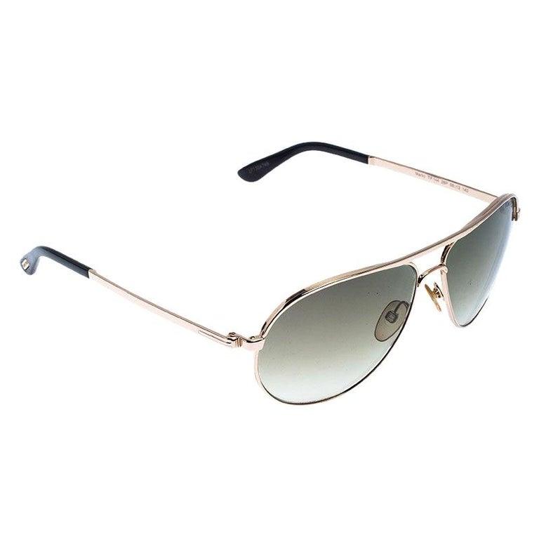 Tom Ford Rose Gold/Green Gradient Marko TF144 Aviator Sunglasses For Sale