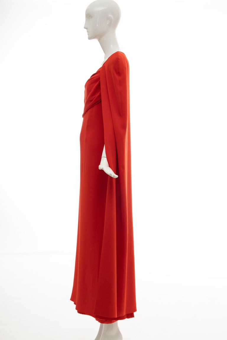 Tom Ford Runway Silk Persimmon Evening Dress With Cape, Fall 2012 For Sale 5