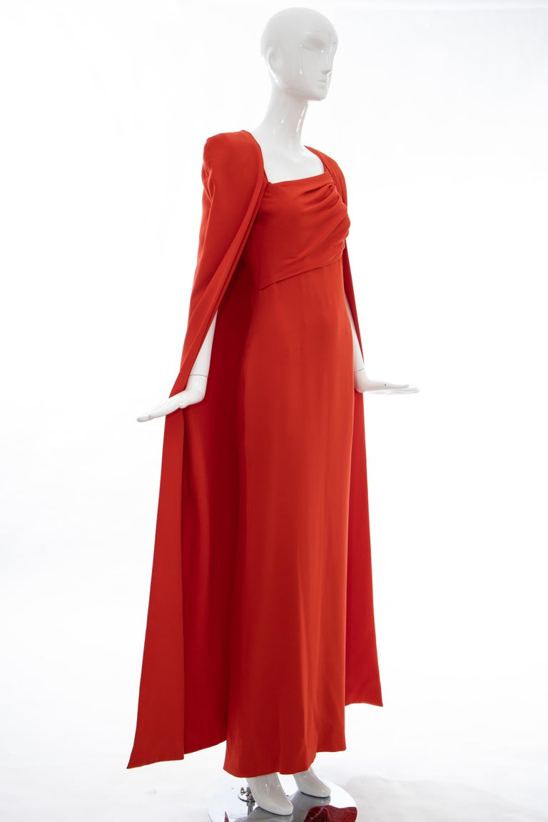 Tom Ford Runway Silk Persimmon Evening Dress With Cape, Fall 2012 For Sale 6