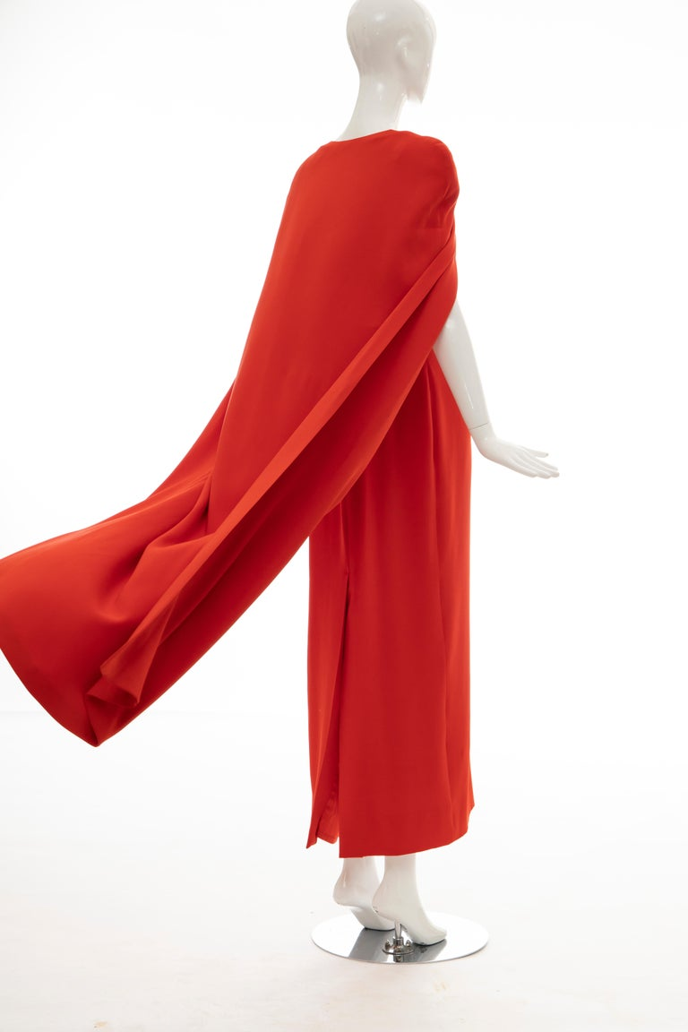 Tom Ford Runway Silk Persimmon Evening Dress With Cape, Fall 2012 For Sale 7