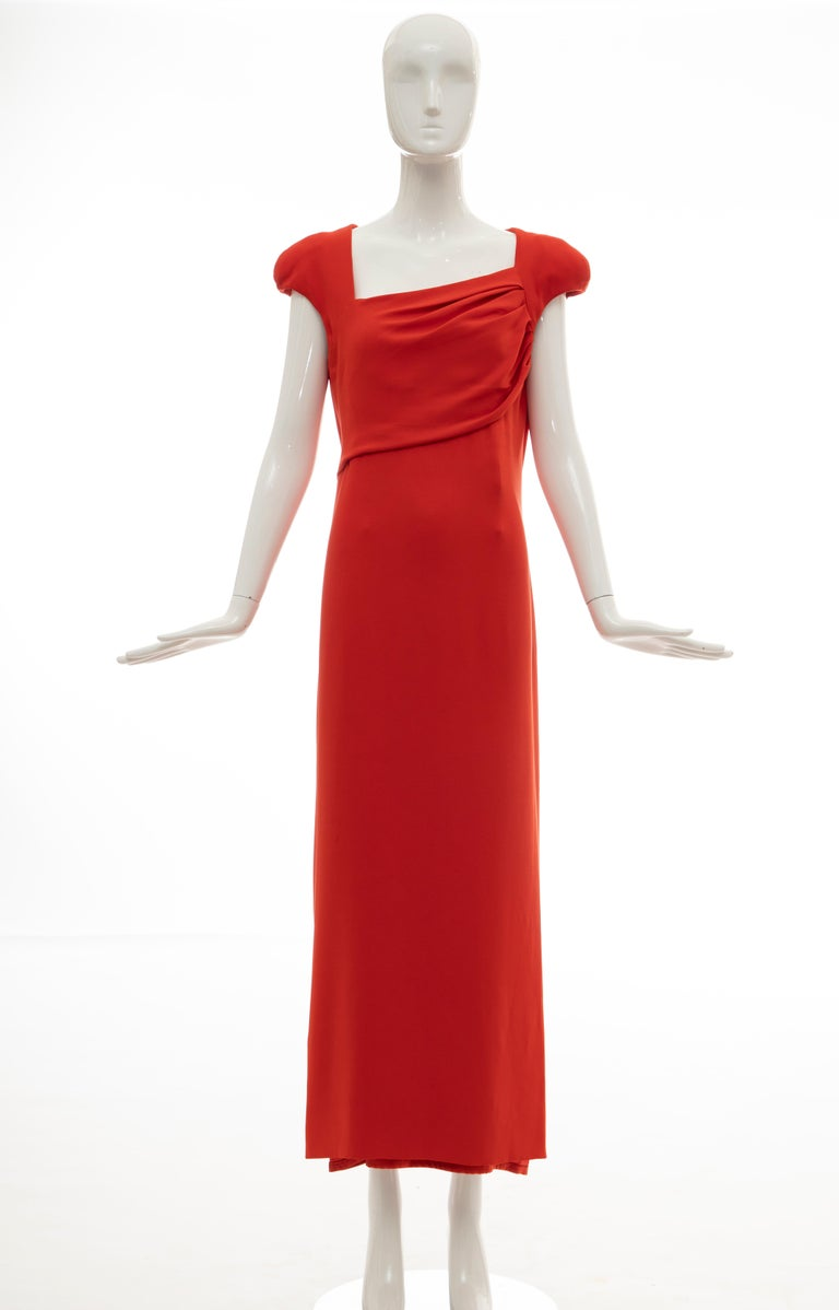Tom Ford Runway Silk Persimmon Evening Dress With Cape, Fall 2012 For Sale 8