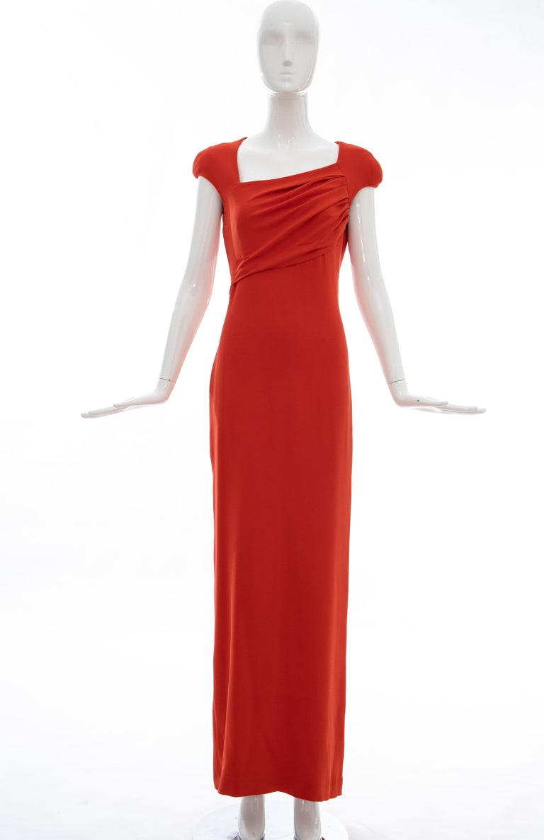 Tom Ford Runway Silk Persimmon Evening Dress With Cape, Fall 2012 For Sale 9