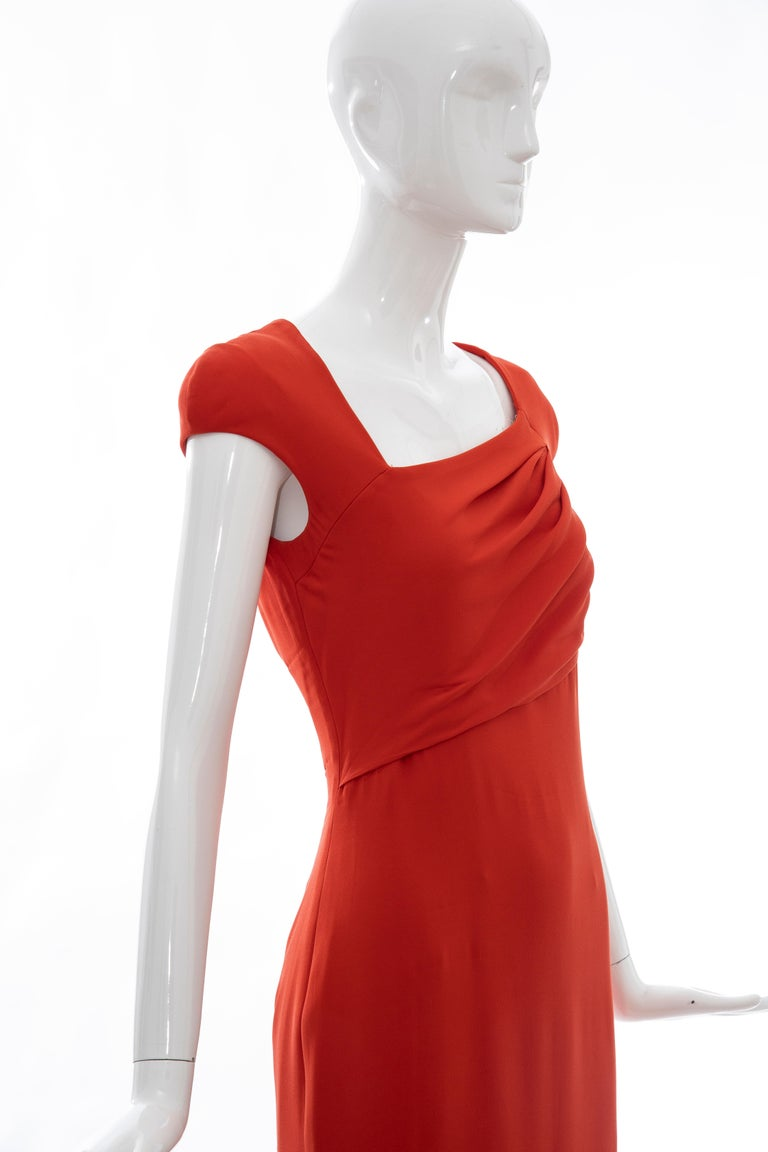 Tom Ford Runway Silk Persimmon Evening Dress With Cape, Fall 2012 For Sale 10