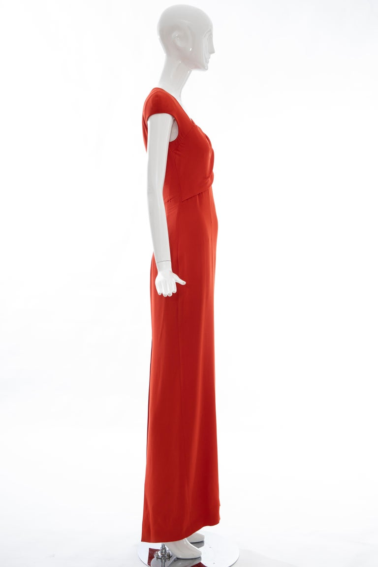 Tom Ford Runway Silk Persimmon Evening Dress With Cape, Fall 2012 For Sale 11