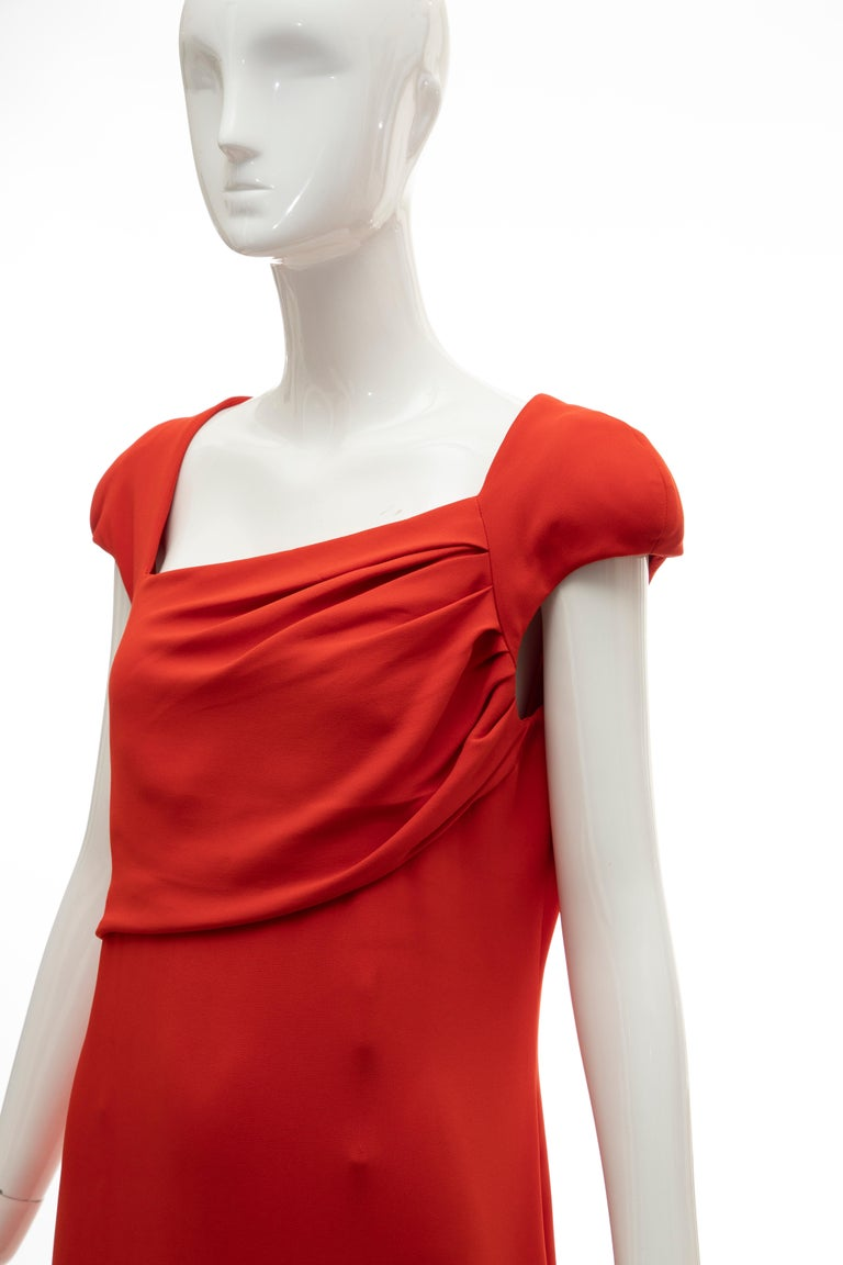 Tom Ford Runway Silk Persimmon Evening Dress With Cape, Fall 2012 For Sale 12