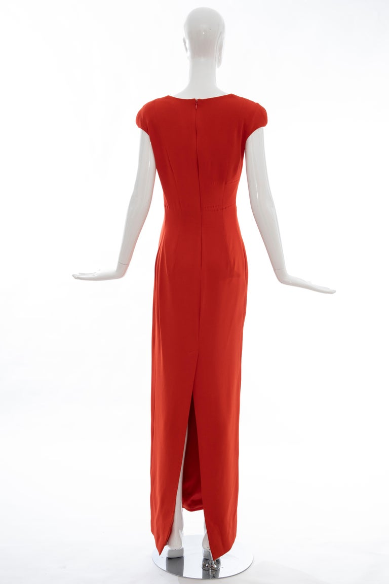 Tom Ford Runway Silk Persimmon Evening Dress With Cape, Fall 2012 For Sale 13