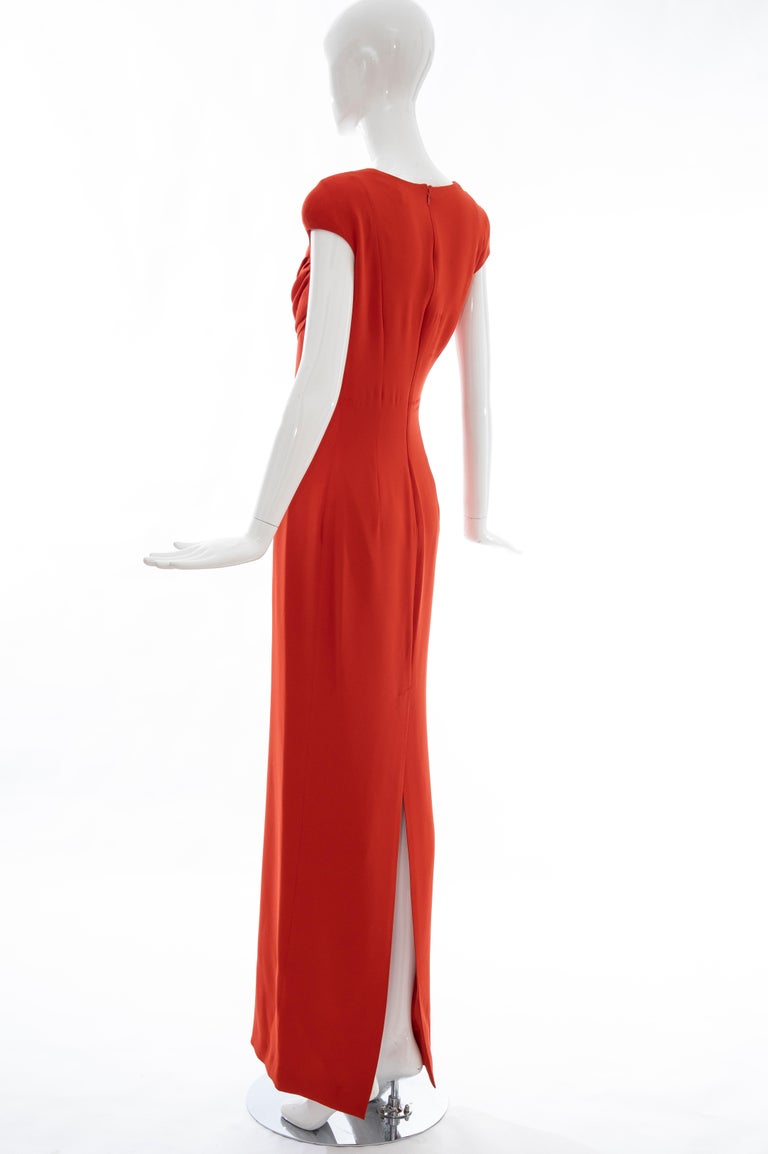 Tom Ford Runway Silk Persimmon Evening Dress With Cape, Fall 2012 For Sale 14