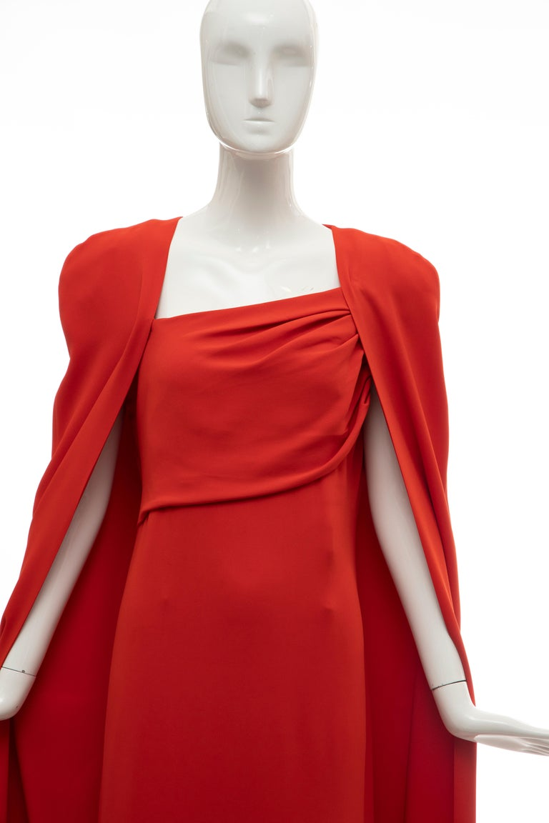 Red Tom Ford Runway Silk Persimmon Evening Dress With Cape, Fall 2012 For Sale