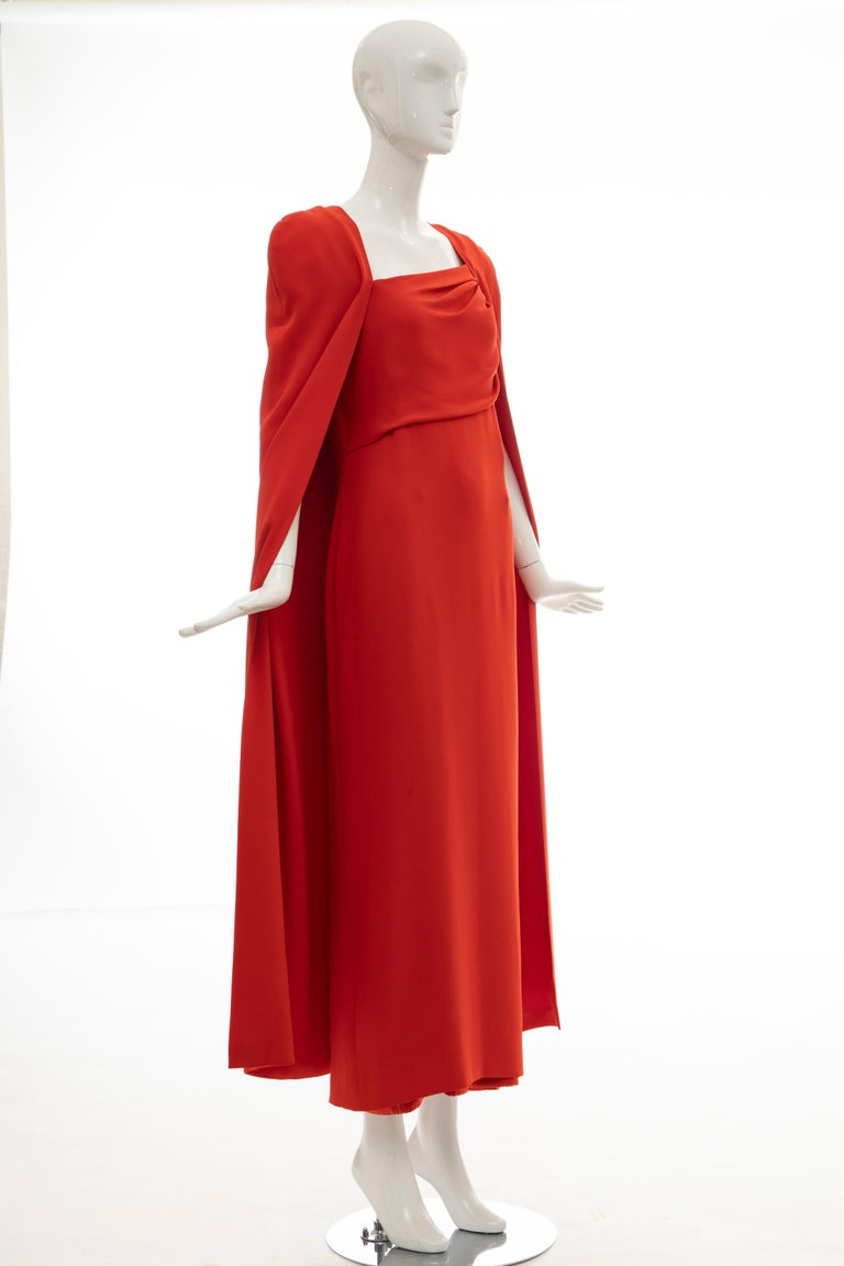 Tom Ford Runway Silk Persimmon Evening Dress With Cape, Fall 2012 In Good Condition For Sale In Cincinnati, OH