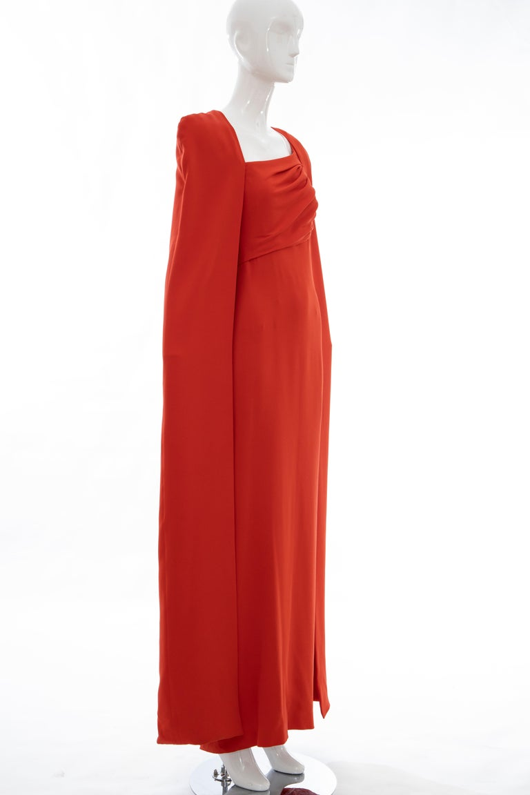 Tom Ford Runway Silk Persimmon Evening Dress With Cape, Fall 2012 In Excellent Condition For Sale In Cincinnati, OH